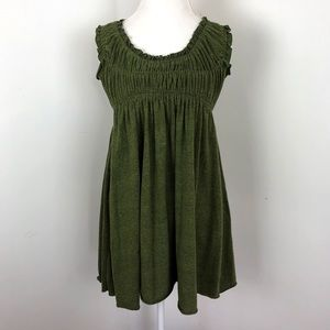 Free People green smocked sleeveless tunic top